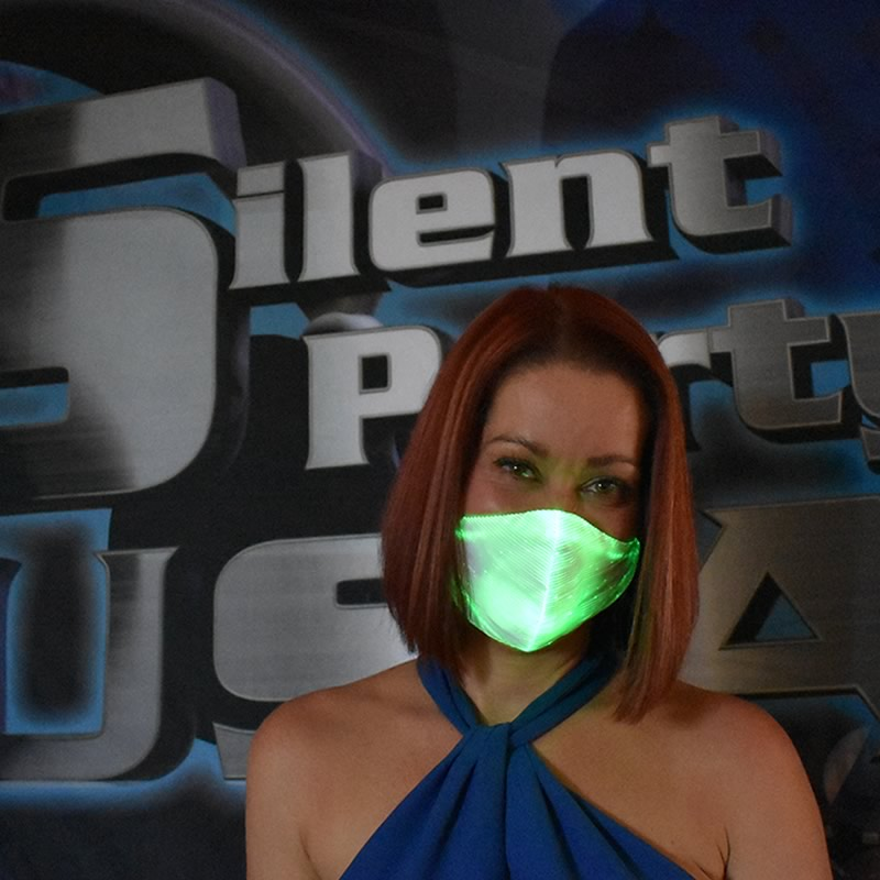 Green LED Mask - Silent Party USA