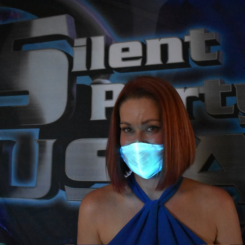 Teal LED Mask - Silent Party USA