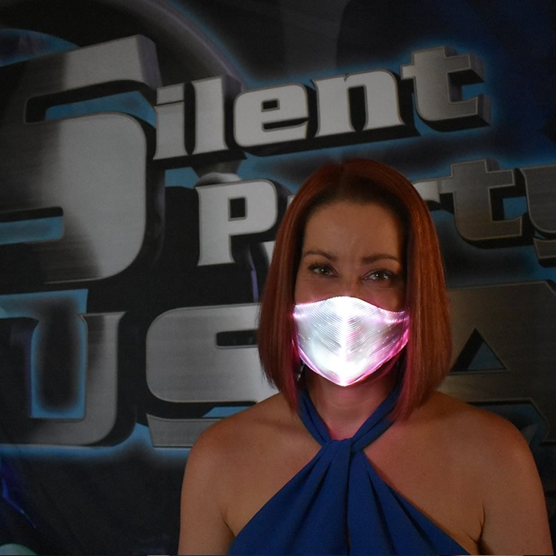 White LED Mask - Silent Party USA